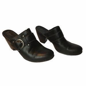 BOC Born Black Leather Slip On Mules Clogs Sz 11